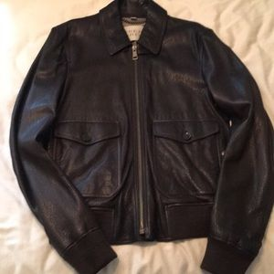 Burberry Brit brown leather bomber jacket